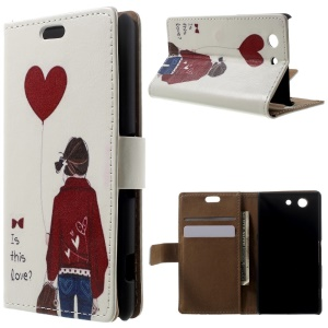 Leather Wallet Stand Case for Sony Xperia Z3 Compact D5803 M55w - Girl Holding Bag & Heart