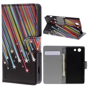 Meteor Shower Leather Wallet Case for Sony Xperia Z3 Compact D5803 M55w w/ Stand