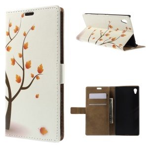 Illustration Pattern Leather Case for Sony Xperia Z4 - Autumn Maple Tree