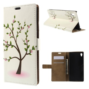 Illustration Pattern Leather Cover for Sony Xperia Z4 - Tree with Flowers