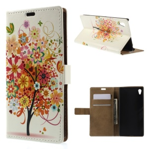 Illustration Pattern Wallet Leather Stand Case for Sony Xperia Z4 - Colorful Flower Tree