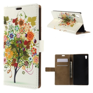 Illustration Pattern Wallet Leather Stand Cover for Sony Xperia Z4 - Colorized Fruit Tree