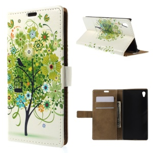 Illustration Pattern Stand Leather Magnetic Case for Sony Xperia Z4 - Green Flower Tree