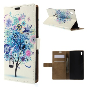 Illustration Pattern PU Leather Case Cover for Sony Xperia Z4 - Blue Flower Tree