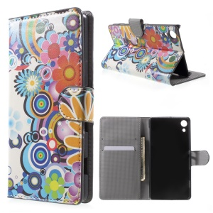 Folio Flip Wallet Leather Cover for Sony Xperia Z4 - Flowers and Circles