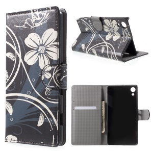 Wallet Leather Cover with Stand for Sony Xperia Z4 - Butterfly and Flowers