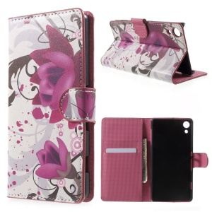 Magnetic Leather Cover with Stand for Sony Xperia Z4 - Purple Flowers