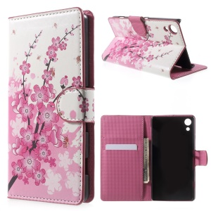 Magnetic Leather Case with Stand for Sony Xperia Z4 - Plum Blossom
