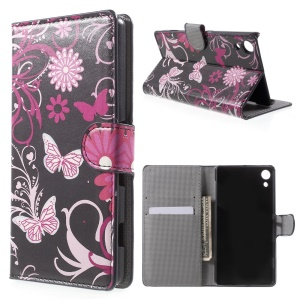 Leather Flip Case with Card Slots for Sony Xperia Z4 - Butterflies and Vine
