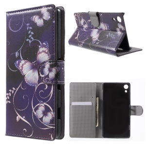 Leather Cover Case with Card Slots for Sony Xperia Z4 - Purple Butterflies