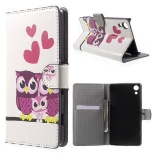 Leather Cover Case with Card Holder for Sony Xperia Z4 - Love Owl Family