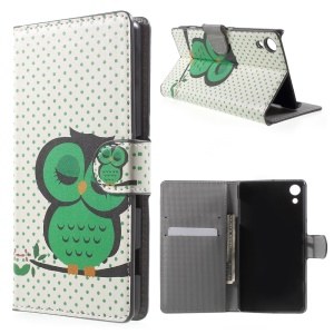 Leather Cover Case with Card Holder for Sony Xperia Z4 - Green Napping Owl
