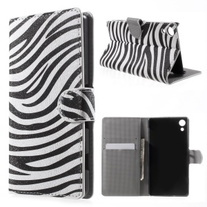 Stand Leather Case with Card Holder for Sony Xperia Z4 - Zebra Stripe