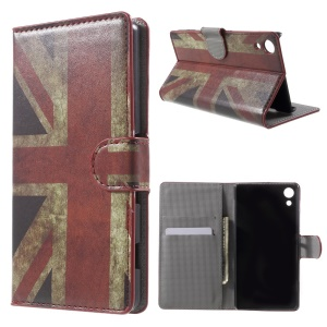 Stand Leather Case with Card Holder for Sony Xperia Z4 - Retro Union Jack