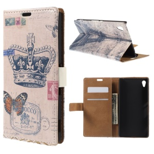 Crown and Eiffel Tower Leather Wallet Stand Case for Sony Xperia Z4