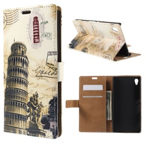Leaning Tower of Pisa Leather Wallet Stand Case for Sony Xperia Z4
