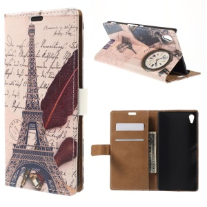 Eiffel Tower and Quill Pen Flip Leather Card Holder Cover for Sony Xperia Z4