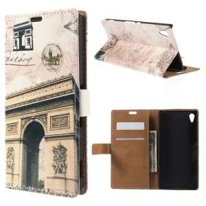 Triumphal Arch and Map Flip Leather Card Holder Shell for Sony Xperia Z4