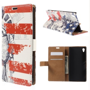 Statue of Liberty Folio Leather Card Holder Stand Cover for Sony Xperia Z4