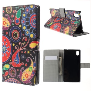 Paisley Flowers Leather Cover for Sony Xperia M4 Aqua / M4 Aqua Dual with Card Slots