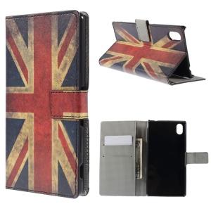 Retro UK Flag Wallet Leather Stand Case for Sony Xperia M4 Aqua / M4 Aqua Dual