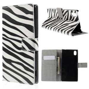 Zebra Stripes Leather Cover for Sony Xperia M4 Aqua / M4 Aqua Dual with Card Slots