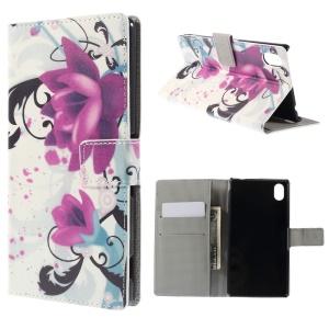 Elegant Lotus Leather Cover for Sony Xperia M4 Aqua / M4 Aqua Dual with Card Slots