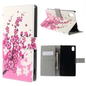 Plum Blossom PU Leather Stand Case for Sony Xperia M4 Aqua / M4 Aqua Dual