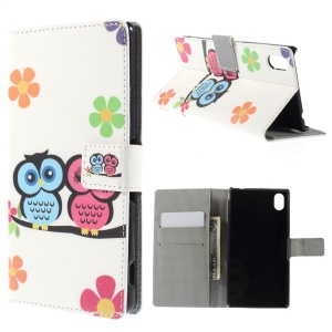 Two Owls on the Branch Leather Cover for Sony Xperia M4 Aqua / M4 Aqua Dual with Card Slots