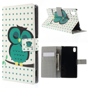 Sleeping Owl on the Branch Leather Case Cover for Sony Xperia M4 Aqua / M4 Aqua Dual