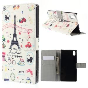 Eiffel Tower & Fruits Leather Cover for Sony Xperia M4 Aqua / M4 Aqua Dual with Card Slots