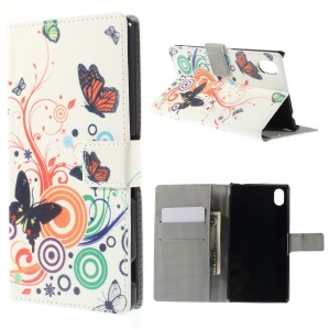 Butterfly Circles Leather Cover for Sony Xperia M4 Aqua / M4 Aqua Dual with Card Slots