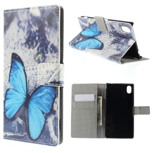 Blue Butterfly Leather Cover for Sony Xperia M4 Aqua / M4 Aqua Dual with Card Slots