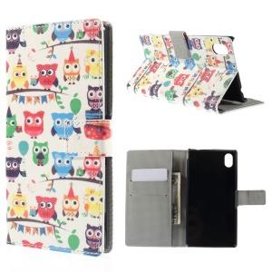 Multiple Owls Leather Cover for Sony Xperia M4 Aqua / M4 Aqua Dual with Card Slots