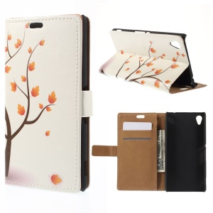 Wallet Leather Case for Sony M4 Aqua / Dual Aqua with Stand - Maple Tree