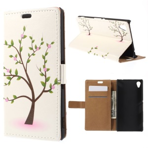 Wallet Leather Cover for Sony M4 Aqua / Dual Aqua with Stand - Flowering Tree
