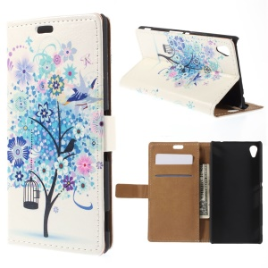 Wallet Leather Shell for Sony M4 Aqua / Dual Aqua with Stand - Blue Tree with Bird Cage