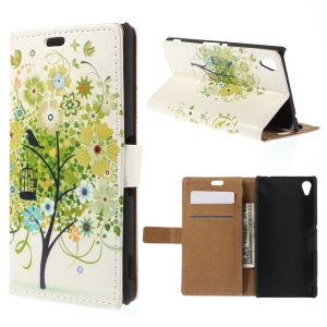 Stand Leather Cover for Sony M4 Aqua / Dual Aqua with Card Slots - Green Tree and Bird