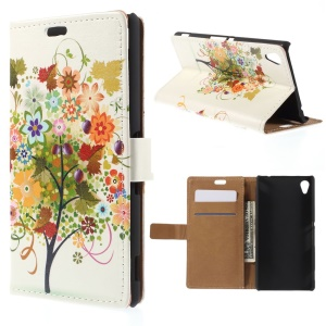 Wallet Leather Shell for Sony M4 Aqua / Dual Aqua with Stand - Tree Bearing Fruit