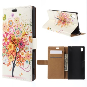 Wallet Leather Cover for Sony M4 Aqua / Dual Aqua with Stand - Butterflies and Tree with Blooming Flower