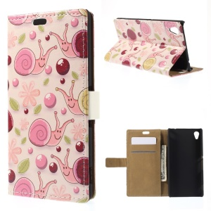 Smiling Snails Leather Wallet Cover for Sony M4 Aqua / Aqua Dual with Stand - Pink Background