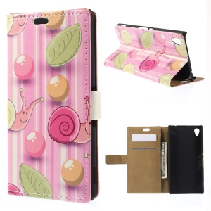 Snails and Stripes Leather Wallet Cover for Sony M4 Aqua / Aqua Dual - Pink Background