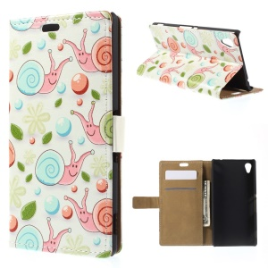 Smiling Snails and Leaves Leather Wallet Cover for Sony M4 Aqua / Aqua Dual with Stand