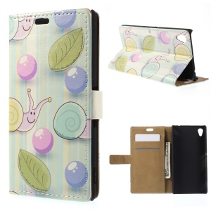 Snails and Stripes Leather Stand Case for Sony M4 Aqua / Aqua Dual - Cyan Background