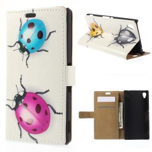 Colorized Ladybug for Sony M4 Aqua / Aqua Dual Leather Wallet Magnetic Cover