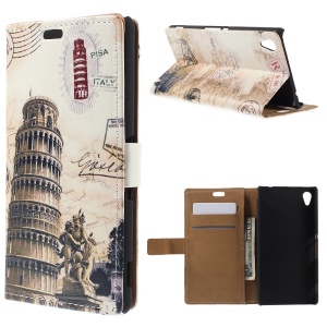 Retro Wallet Leather Case for Sony Xperia M4 Aqua / Aqua Dual with Stand - Leaning Tower and Map
