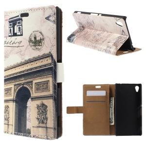 Retro Card Holder Leather Cover for Sony Xperia M4 Aqua / Aqua Dual with Stand - Triumphal Arch and Map
