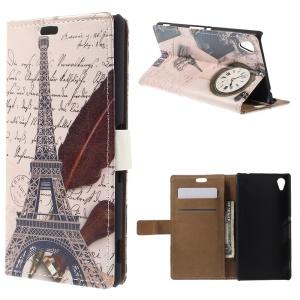 Retro Stand Leather Cover for Sony Xperia M4 Aqua / Aqua Dual - Eiffel Tower and Clock