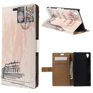 Retro Card Holder Leather Cover for Sony Xperia M4 Aqua / Aqua Dual with Stand - Big Ben and Stamp