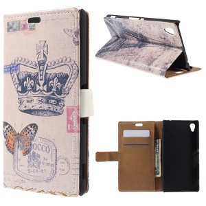 Retro Card Holder Leather Cover for Sony Xperia M4 Aqua / Aqua Dual with Stand - Crown and Butterfly